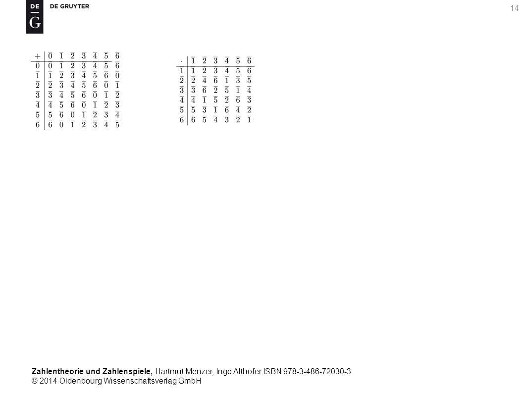 Zahlentheorie und Zahlenspiele, Hartmut Menzer, Ingo Althöfer ISBN 978-3-486-72030-3 © 2014 Oldenbourg Wissenschaftsverlag GmbH 14