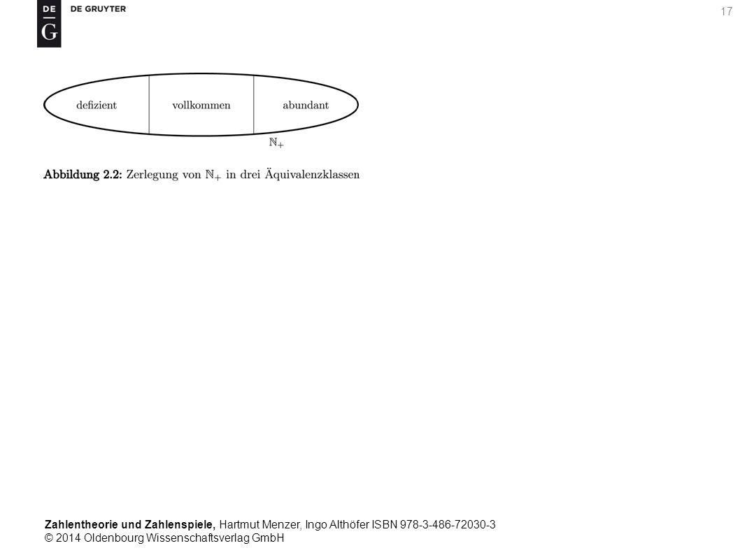 Zahlentheorie und Zahlenspiele, Hartmut Menzer, Ingo Althöfer ISBN 978-3-486-72030-3 © 2014 Oldenbourg Wissenschaftsverlag GmbH 17