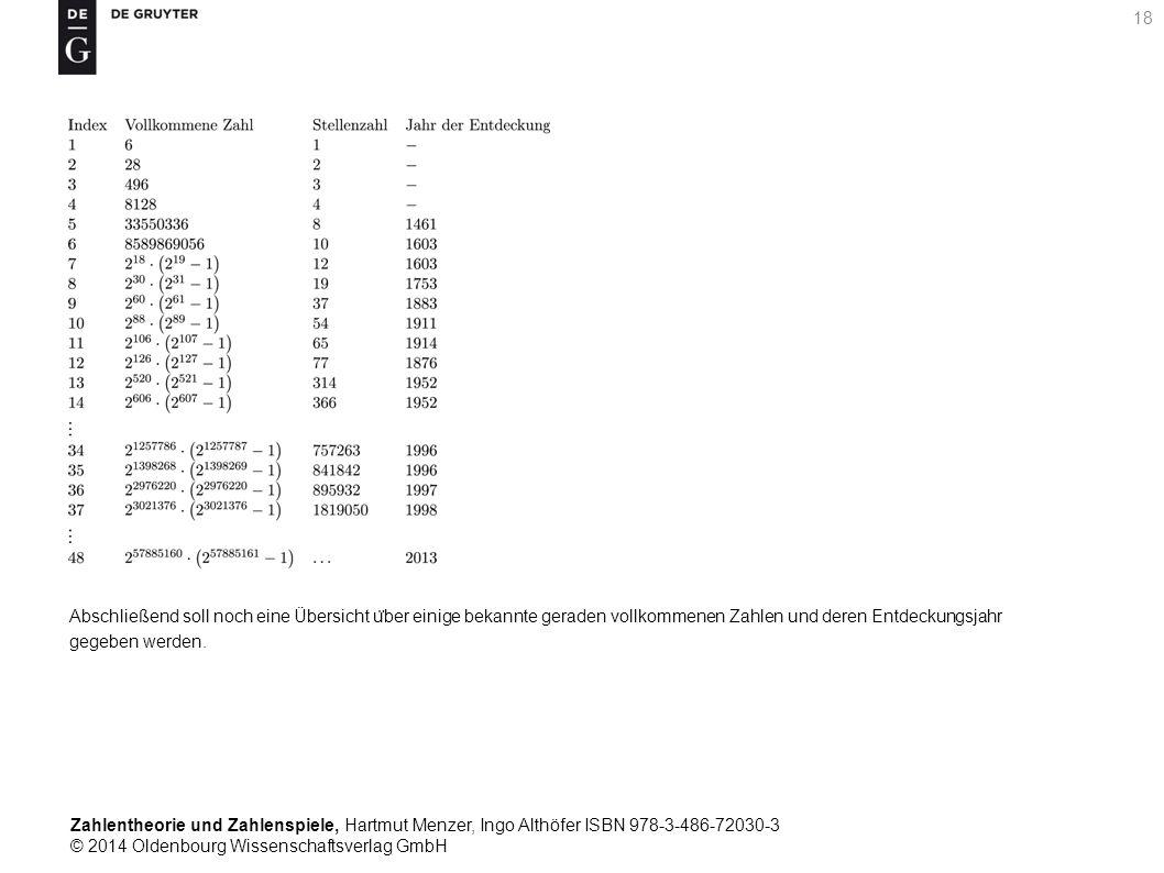 Zahlentheorie und Zahlenspiele, Hartmut Menzer, Ingo Althöfer ISBN 978-3-486-72030-3 © 2014 Oldenbourg Wissenschaftsverlag GmbH 18 Abschließend soll n