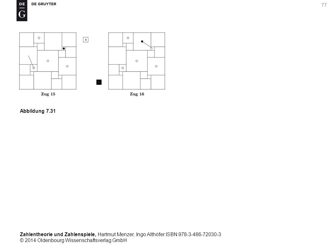 Zahlentheorie und Zahlenspiele, Hartmut Menzer, Ingo Althöfer ISBN 978-3-486-72030-3 © 2014 Oldenbourg Wissenschaftsverlag GmbH 77 Abbildung 7.31