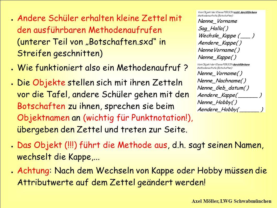 Axel Möller, LWG Schwabmünchen Die Schüler sehen, dass manche Methoden Parameter benötigen, sie begreifen den Unterschied zwischen Botschaft und Ausführung der Methode.