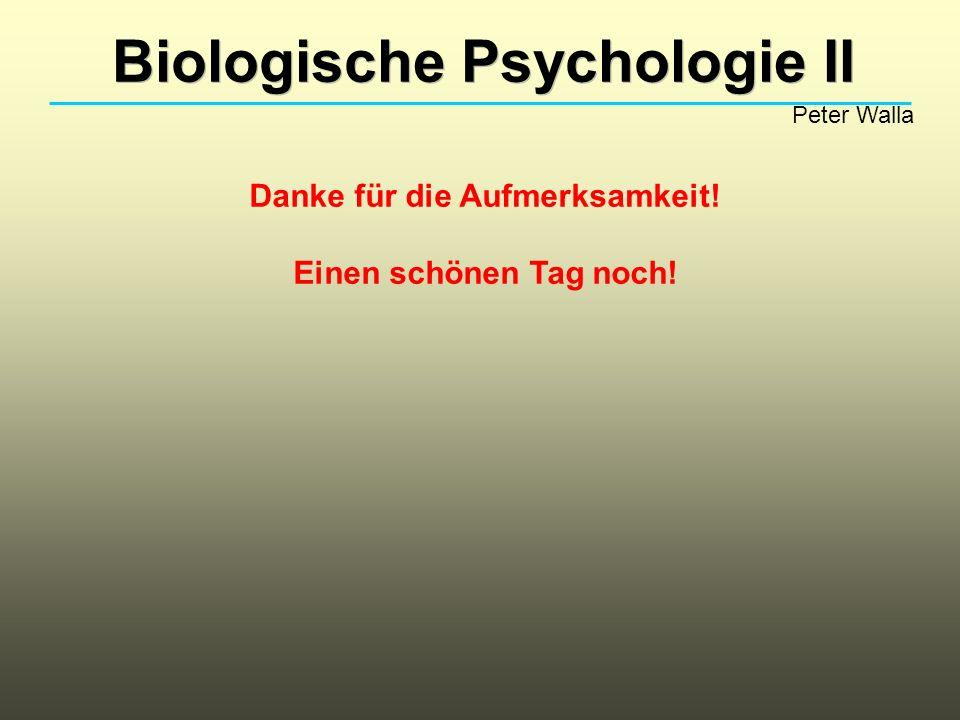 Biologische Psychologie II Peter Walla Danke für die Aufmerksamkeit! Einen schönen Tag noch!
