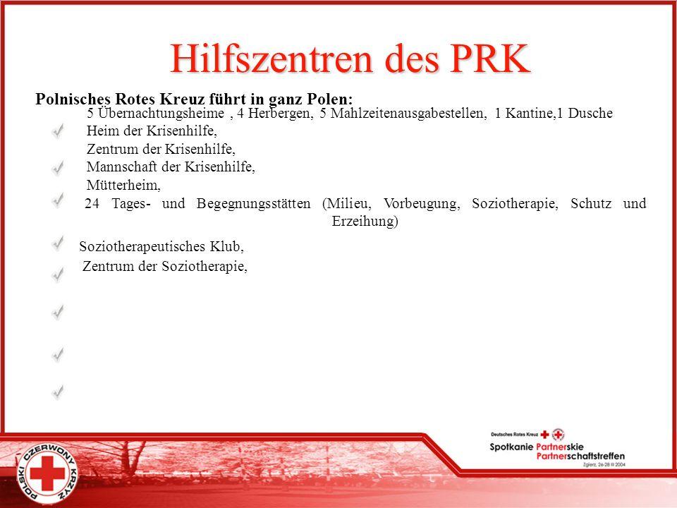 Hilfszentren des PRK Polnisches Rotes Kreuz führt in ganz Polen: 5 Übernachtungsheime, 4 Herbergen, 5 Mahlzeitenausgabestellen, 1 Kantine,1 Dusche Hei