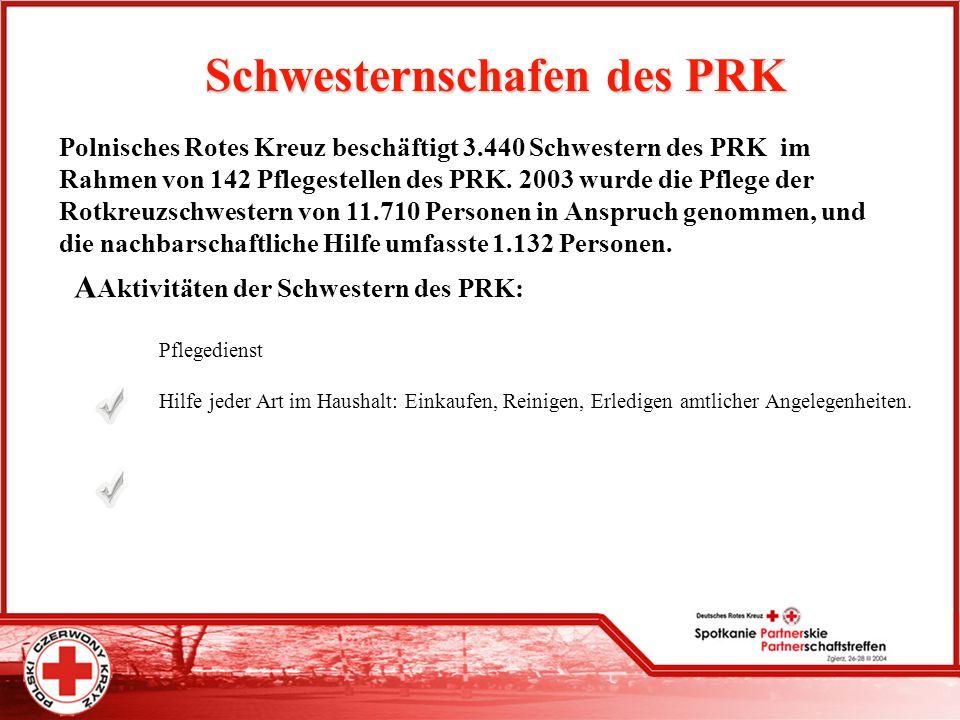 Schwesternschafen des PRK Polnisches Rotes Kreuz beschäftigt 3.440 Schwestern des PRK im Rahmen von 142 Pflegestellen des PRK. 2003 wurde die Pflege d