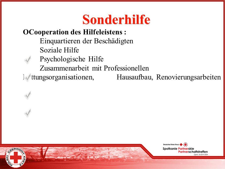 Sonderhilfe OCooperation des Hilfeleistens : Einquartieren der Beschädigten Soziale Hilfe Psychologische Hilfe Zusammenarbeit mit Professionellen Rett