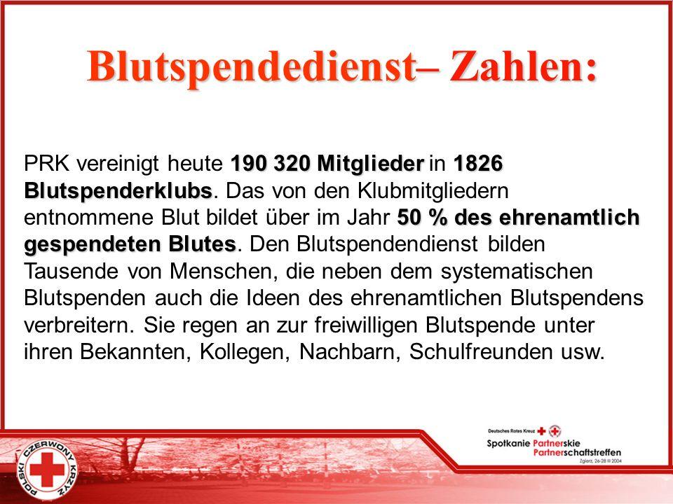 Blutspendedienst– Blutspendedienst– Zahlen: PRK vereinigt heute 190 190 320 Mitglieder in 1826 Blutspenderklubs Blutspenderklubs. Das von den Klubmitg