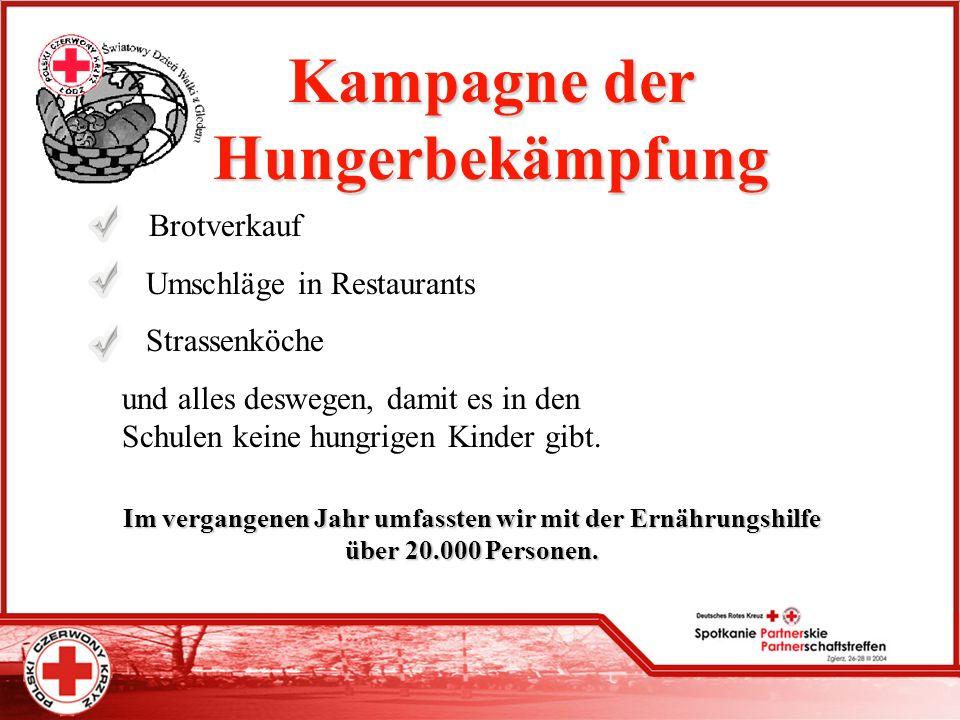 Kampagne der Hungerbekämpfung Brotverkauf Umschläge in Restaurants Strassenköche und alles deswegen, damit es in den Schulen keine hungrigen Kinder gi