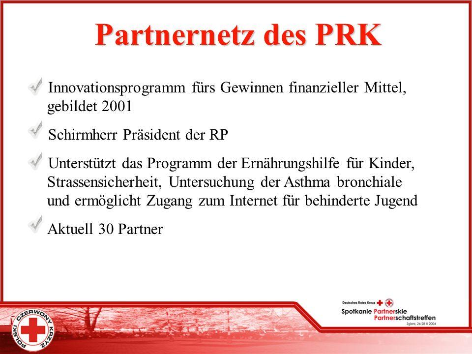 Partnernetz des PRK Innovationsprogramm fürs Gewinnen finanzieller Mittel, gebildet 2001 Schirmherr Präsident der RP Unterstützt das Programm der Ernä