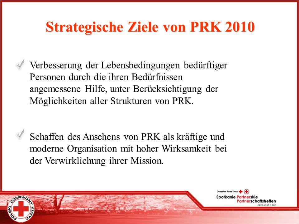 Strategische Ziele von PRK 2010 Verbesserung der Lebensbedingungen bedürftiger Personen durch die ihren Bedürfnissen angemessene Hilfe, unter Berücksi