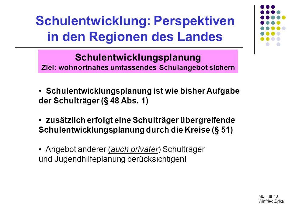 Schulentwicklung: Perspektiven in den Regionen des Landes MBF III 43 Winfried Zylka Schulträgerwechsel Vermögensrechtliche Auseinandersetzung SchulG fordert angemessenen Interessensausgleich (§ 49 Abs.