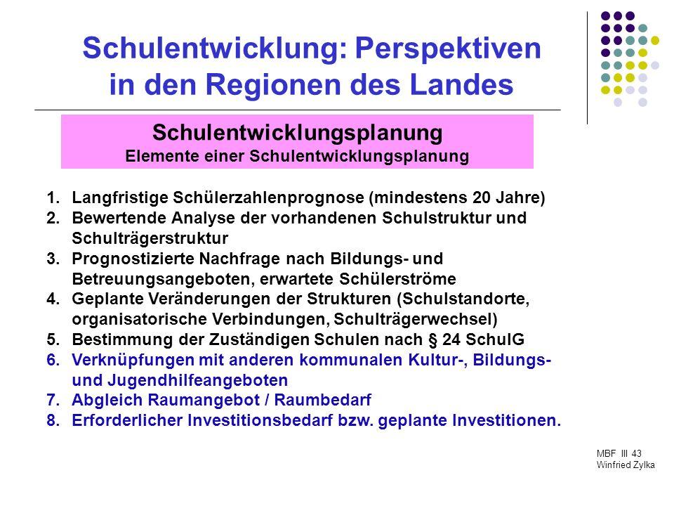 Schulentwicklung: Perspektiven in den Regionen des Landes MBF III 43 Winfried Zylka Schulentwicklungsplanung Schulentwicklungsplanung im Dialog Empfehlung: Harmonische SEP: frühzeitige Abstimmung (Gegenstromverfahren) zwischen den Schulträgern und dem Kreis sowie mit den Schulen und der Schulaufsicht