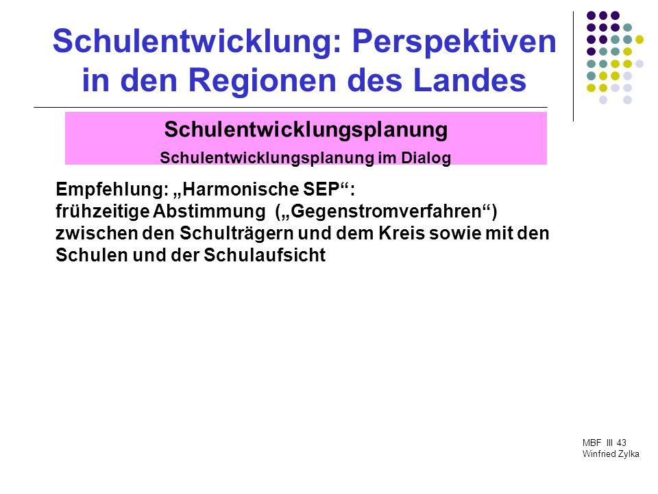 Schulentwicklung: Perspektiven in den Regionen des Landes MBF III 43 Winfried Zylka Schulentwicklungsplanung Stand auf der gemeindlichen Ebene Einige Schulträger arbeiten an einer kompletten SEP; einige Schulträger befassen sich schwerpunktmäßig mit ihren weiterführenden Schulen.