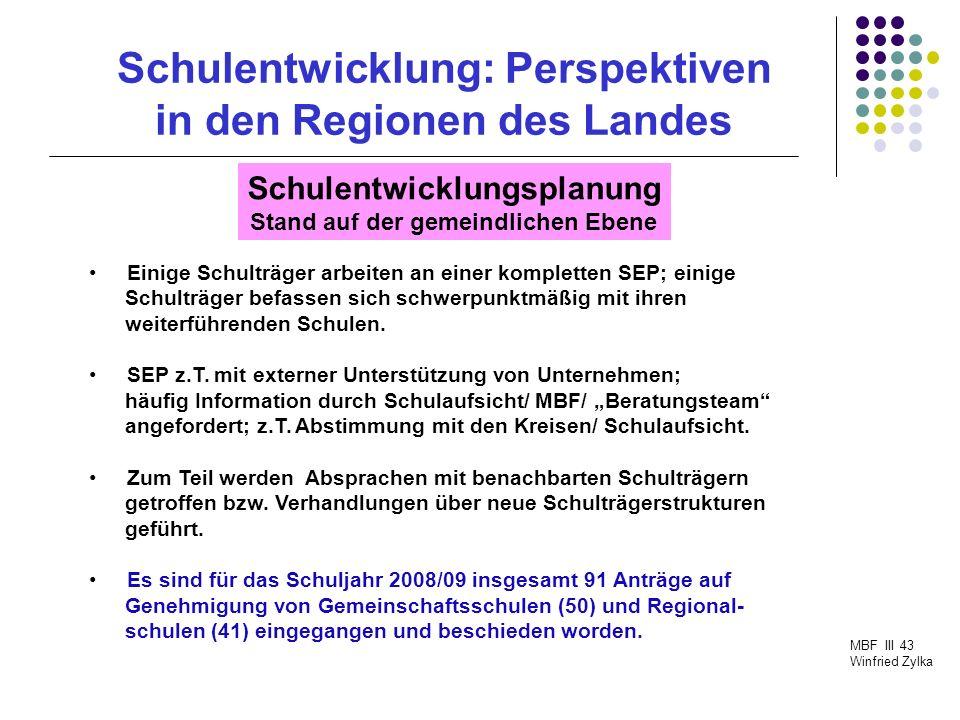 Schulentwicklung: Perspektiven in den Regionen des Landes MBF III 43 Winfried Zylka Schulentwicklungsplanung Stand auf der Ebene der Kreise/ kreisfreien Städte Initialveranstaltungen mit den kommunalen Schulträgern haben stattgefunden.