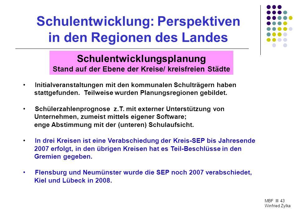 Schulentwicklung: Perspektiven in den Regionen des Landes MBF III 43 Winfried Zylka Kreis/ StadtGemSch RegSch Flensburg 1+13 Lübeck 11 Neumünster 25 Dithmarschen 55 Steinburg 3+1-- Nordfriesland 53 Stormarn 52 Ostholstein 2+12 Pinneberg 1+12 Plön --2 Rendsburg-Eckernförde 79 dv.