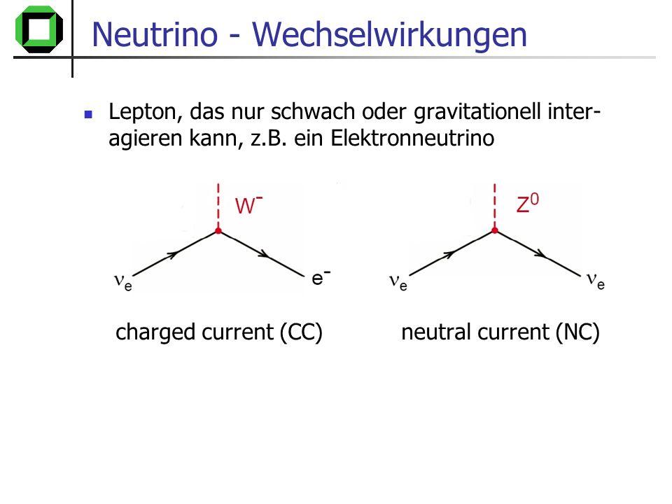 Neutrino - Wechselwirkungen Wirkungsquerschnitt äußerst gering, z.B.