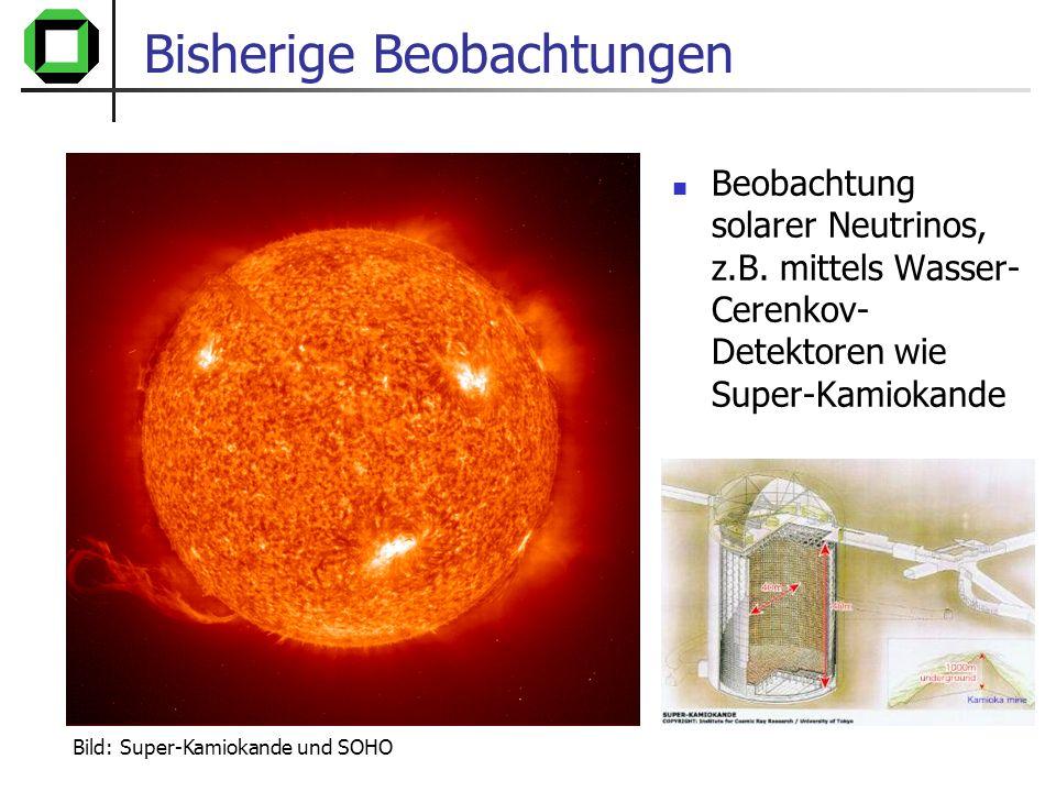 Bild: Super-Kamiokande und SOHO Bisherige Beobachtungen Nachweis, für Fusion im Innern der Sonne Bestätigung der Sonnenmodelle Entdeckung der Neutrino- Oszillation