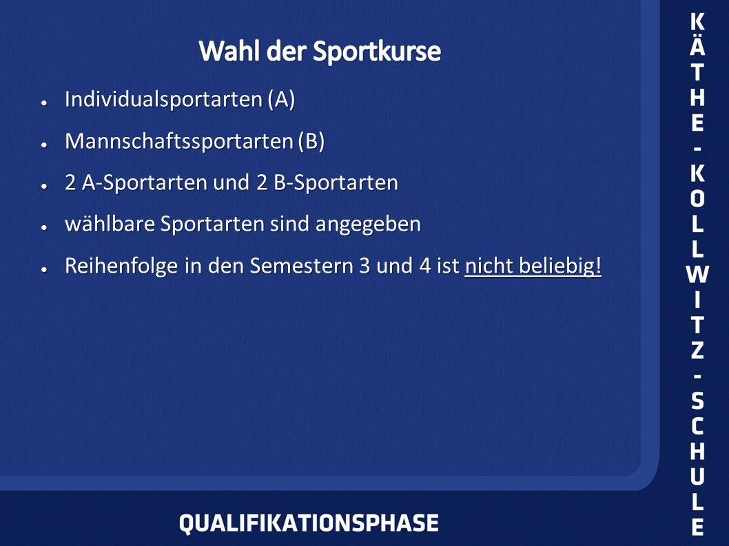 Individualsportarten (A) Individualsportarten (A) Mannschaftssportarten (B) Mannschaftssportarten (B) 2 A-Sportarten und 2 B-Sportarten 2 A-Sportarten und 2 B-Sportarten wählbare Sportarten sind angegeben wählbare Sportarten sind angegeben Reihenfolge in den Semestern 3 und 4 ist nicht beliebig.