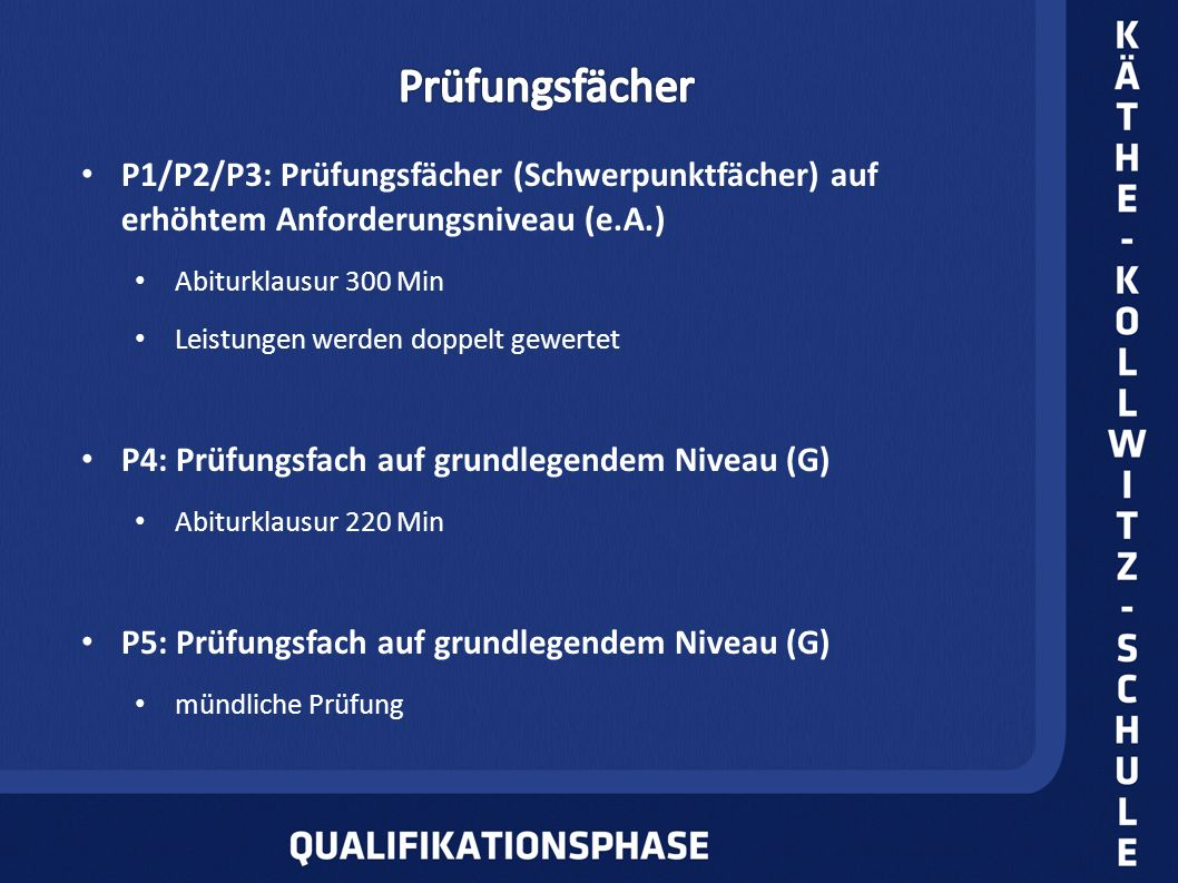 P1/P2/P3: Prüfungsfächer (Schwerpunktfächer) auf erhöhtem Anforderungsniveau (e.A.) Abiturklausur 300 Min Leistungen werden doppelt gewertet P4: Prüfu