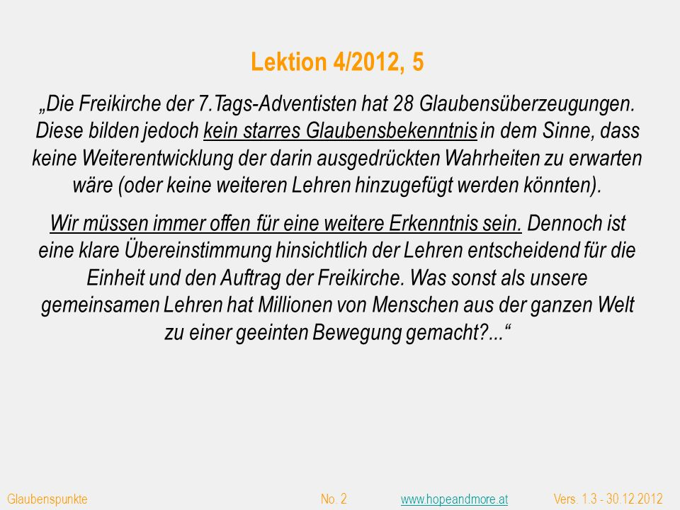 Glaubenspunkte No.43www.hopeandmore.atVers.