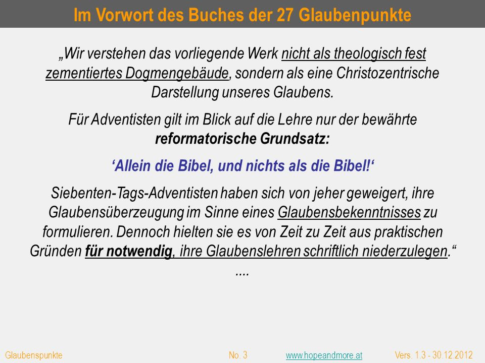 Glaubenspunkte No.14www.hopeandmore.atVers. 1.3 - 30.12.2012www.hopeandmore.at G.