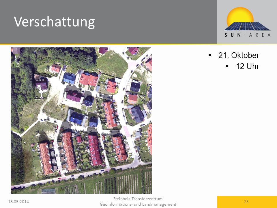 Steinbeis-Transferzentrum Geoinformations- und Landmanagement 18.05.2014 25 21. Oktober 12 Uhr Verschattung