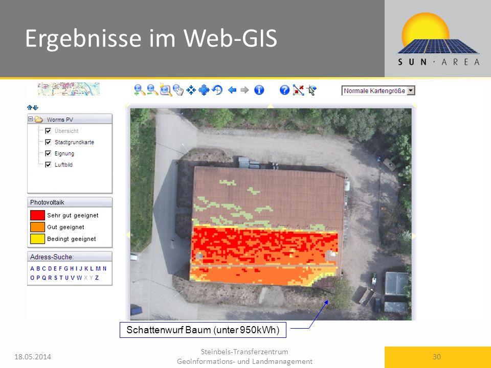 Steinbeis-Transferzentrum Geoinformations- und Landmanagement 18.05.2014 30 Ergebnisse im Web-GIS Schattenwurf Baum (unter 950kWh)