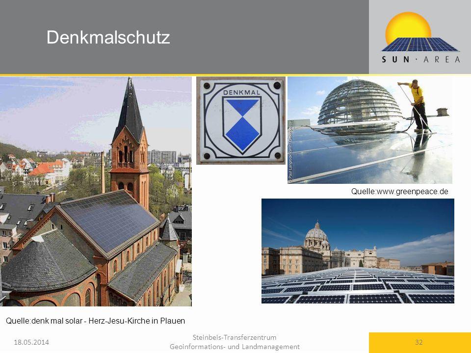 Steinbeis-Transferzentrum Geoinformations- und Landmanagement 18.05.2014 32 Quelle:www.greenpeace.de Denkmalschutz Quelle:denk mal solar - Herz-Jesu-Kirche in Plauen