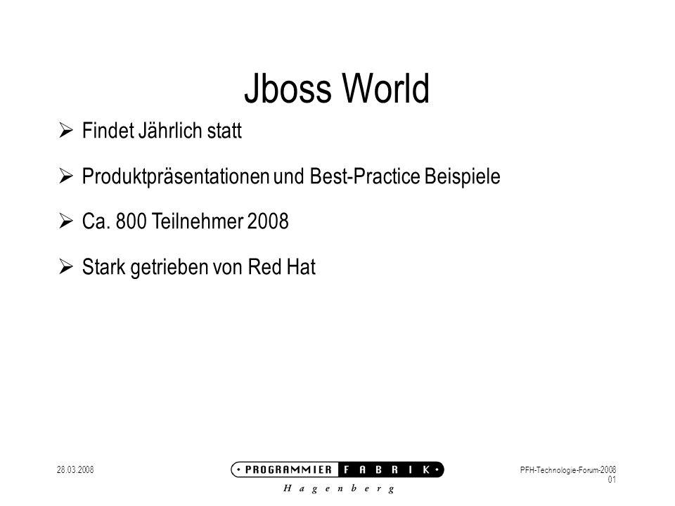 28.03.2008PFH-Technologie-Forum-2008 01 Jboss World Findet Jährlich statt Produktpräsentationen und Best-Practice Beispiele Ca.