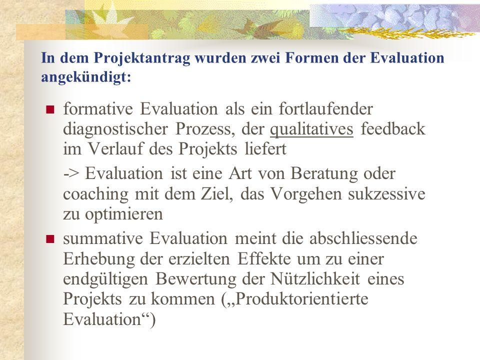 In dem Projektantrag wurden zwei Formen der Evaluation angekündigt: formative Evaluation als ein fortlaufender diagnostischer Prozess, der qualitatives feedback im Verlauf des Projekts liefert -> Evaluation ist eine Art von Beratung oder coaching mit dem Ziel, das Vorgehen sukzessive zu optimieren summative Evaluation meint die abschliessende Erhebung der erzielten Effekte um zu einer endgültigen Bewertung der Nützlichkeit eines Projekts zu kommen (Produktorientierte Evaluation)