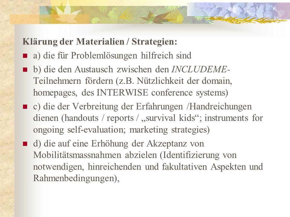 Klärung der Materialien / Strategien: a) die für Problemlösungen hilfreich sind b) die den Austausch zwischen den INCLUDEME- Teilnehmern fördern (z.B.