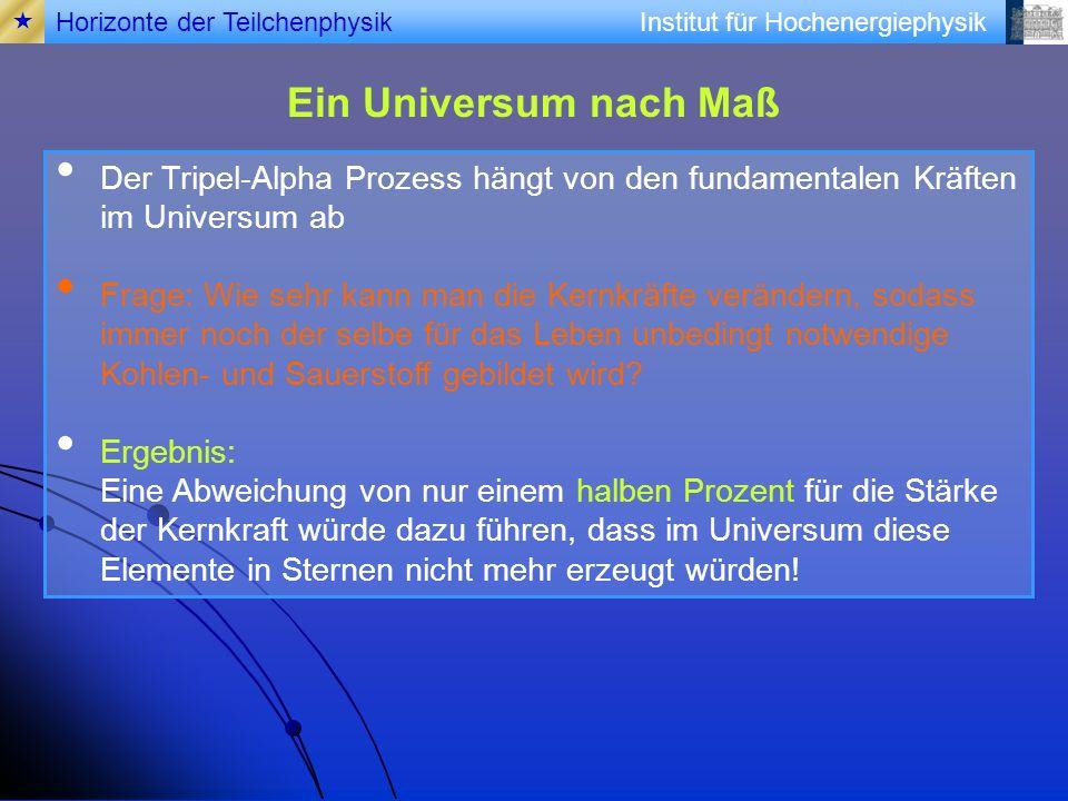 Institut für Hochenergiephysik Ein Universum nach Maß Der Tripel-Alpha Prozess hängt von den fundamentalen Kräften im Universum ab Frage: Wie sehr kan