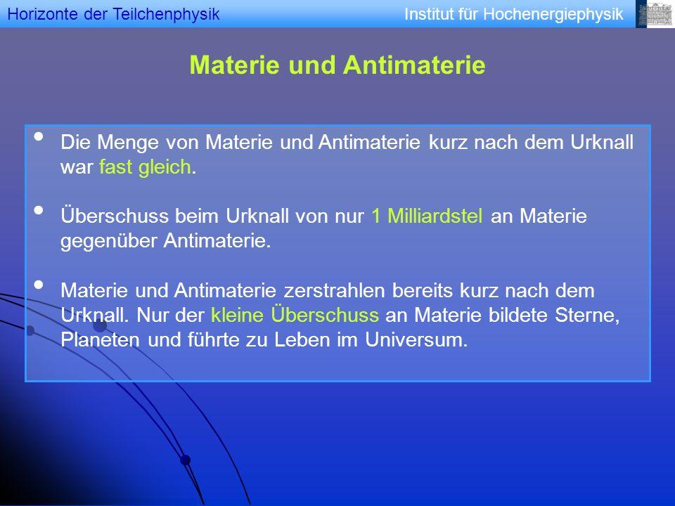 Institut für Hochenergiephysik Materie und Antimaterie Die Menge von Materie und Antimaterie kurz nach dem Urknall war fast gleich. Überschuss beim Ur