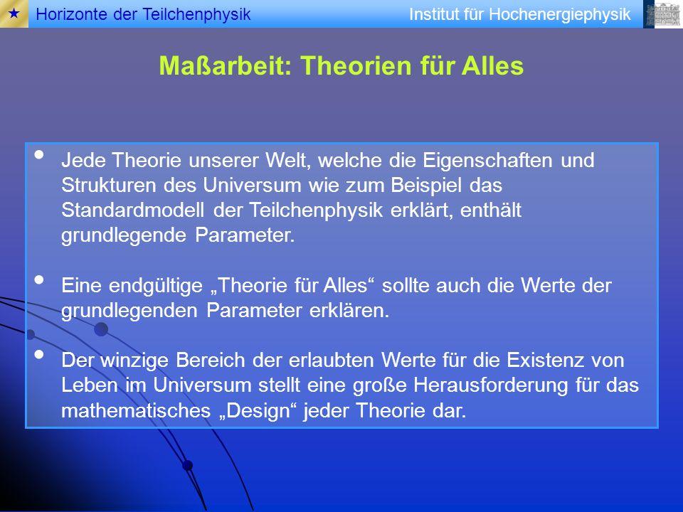 Institut für Hochenergiephysik Maßarbeit: Theorien für Alles Jede Theorie unserer Welt, welche die Eigenschaften und Strukturen des Universum wie zum