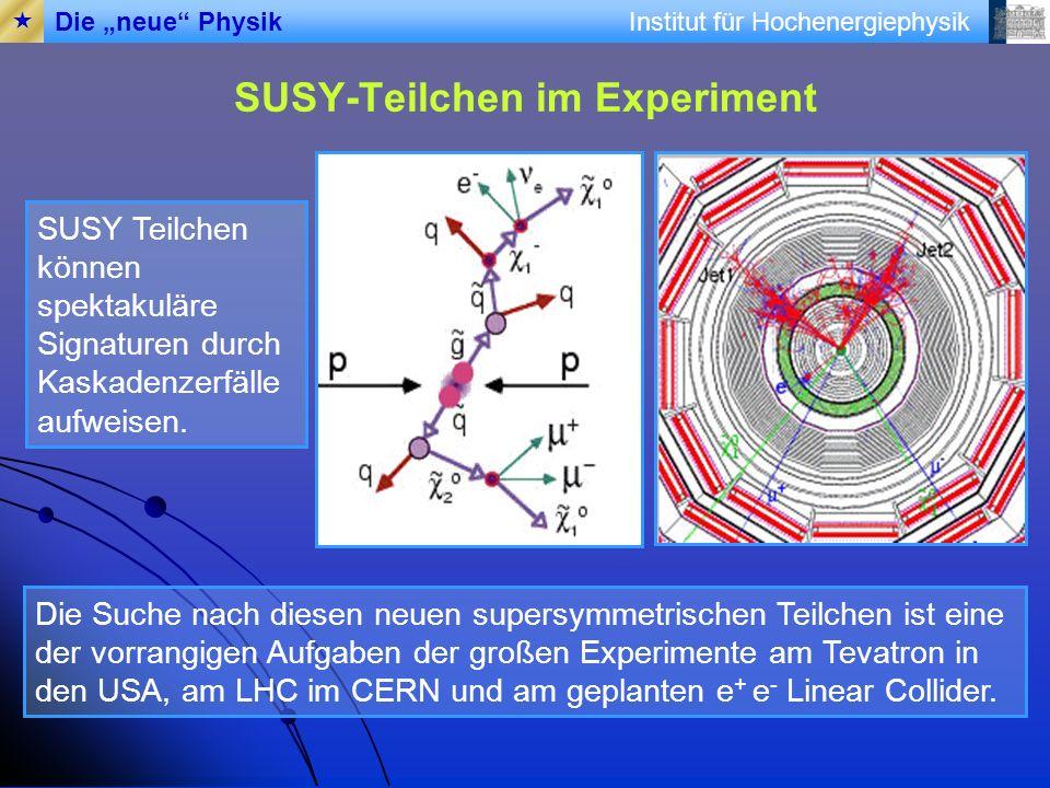 Institut für Hochenergiephysik SUSY-Teilchen im Experiment Die Suche nach diesen neuen supersymmetrischen Teilchen ist eine der vorrangigen Aufgaben d