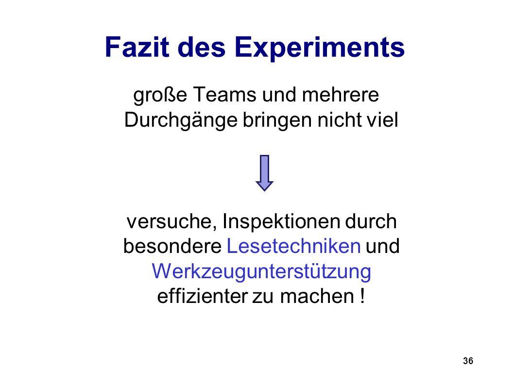 36 Fazit des Experiments große Teams und mehrere Durchgänge bringen nicht viel versuche, Inspektionen durch besondere Lesetechniken und Werkzeugunterstützung effizienter zu machen !