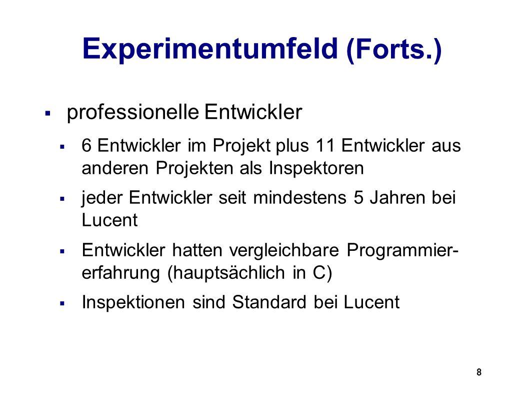 8 Experimentumfeld (Forts.) professionelle Entwickler 6 Entwickler im Projekt plus 11 Entwickler aus anderen Projekten als Inspektoren jeder Entwickler seit mindestens 5 Jahren bei Lucent Entwickler hatten vergleichbare Programmier- erfahrung (hauptsächlich in C) Inspektionen sind Standard bei Lucent