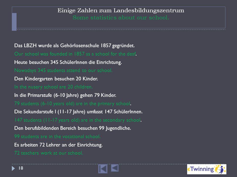 Einige Zahlen zum Landesbildungszentrum Some statistics about our school. Das LBZH wurde als Gehörlosenschule 1857 gegründet. Our school was founded i