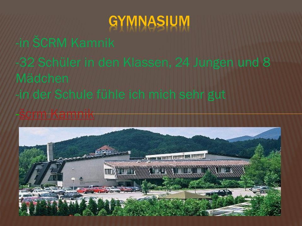 -in ŠCRM Kamnik -32 Schüler in den Klassen, 24 Jungen und 8 Mädchen -in der Schule fühle ich mich sehr gut -šcrm Kamnikšcrm Kamnik