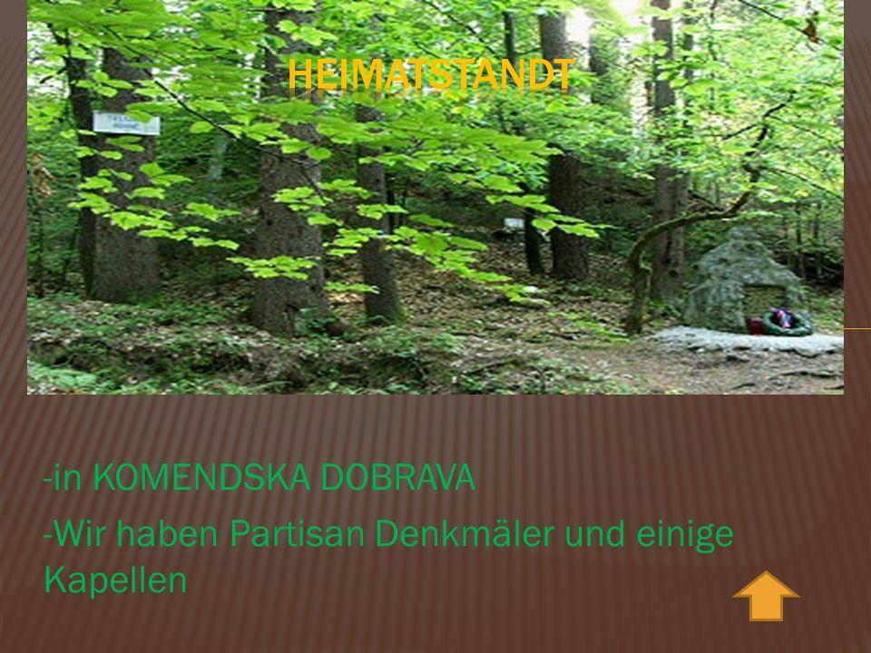 -in KOMENDSKA DOBRAVA -Wir haben Partisan Denkmäler und einige Kapellen