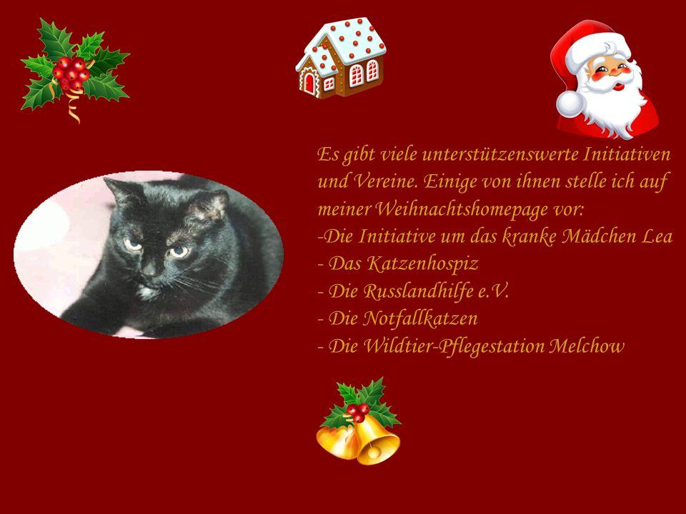 Es gibt viele unterstützenswerte Initiativen und Vereine. Einige von ihnen stelle ich auf meiner Weihnachtshomepage vor: -Die Initiative um das kranke