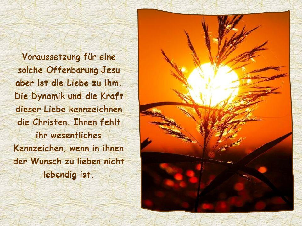 Voraussetzung für eine solche Offenbarung Jesu aber ist die Liebe zu ihm.
