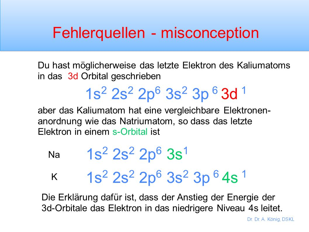 Dr. Dr. A. König, DSKL Schreibe die Elektronenkonfiguration der folgenden Elemente: Neonatom (z = 10) Natriumatom (z = 11) Siliziumatom (z = 14) Kaliu