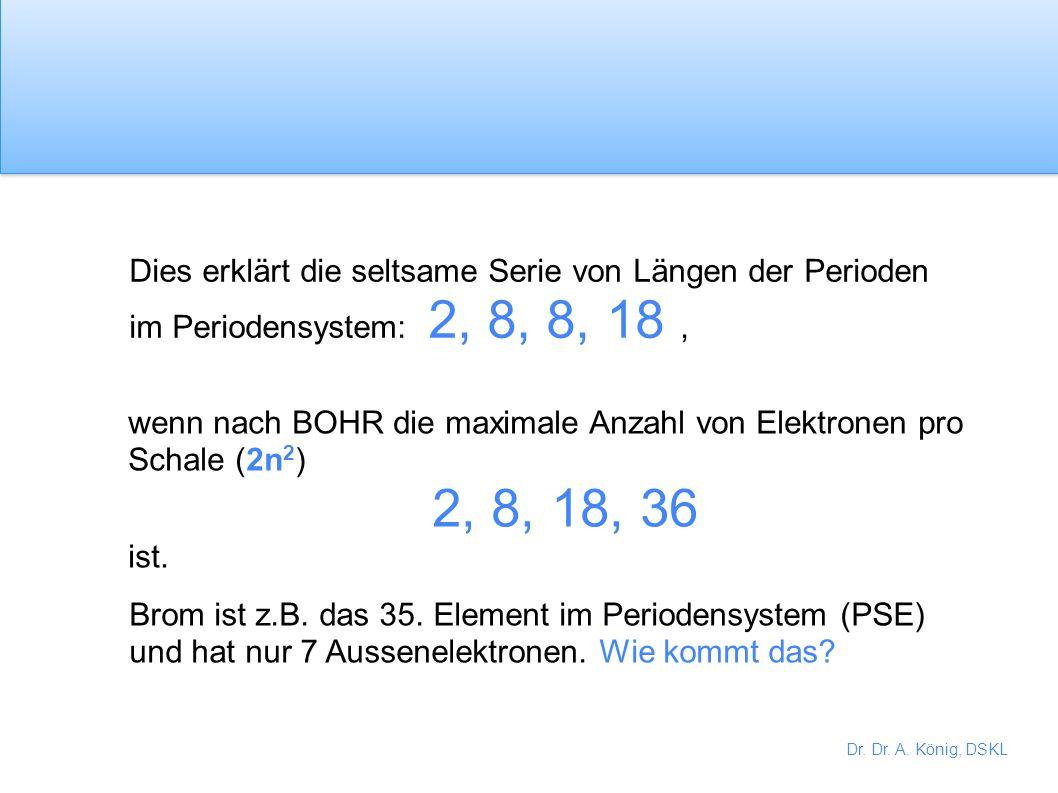 Dr. Dr. A. König, DSKL Du hast möglicherweise das letzte Elektron des Kaliumatoms in das 3d Orbital geschrieben 1s 2 2s 2 2p 6 3s 2 3p 6 3d 1 aber das
