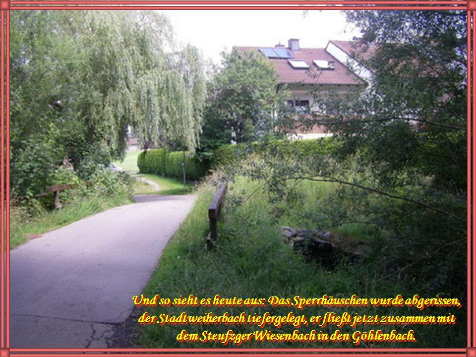 Sperrhäuschen, hier wurde der Wassereinlaß für den Schlangenbach reguliert. Etwas weiter im Osten verläuft jetzt die Straße Am Göhlenbach
