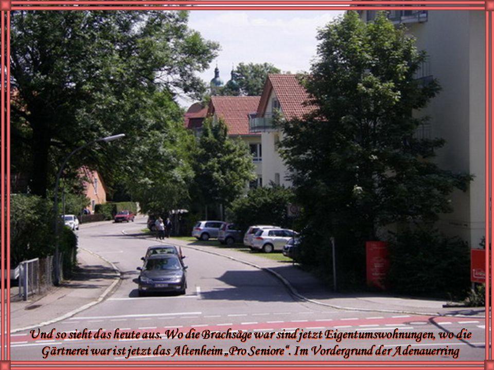 Blick zur Lorenzkirche. Davor die ehemalige Brachsäge und die Gärtnerei Samendinger. Hier führt der heutige Adenauerring zur Lindauerstraße