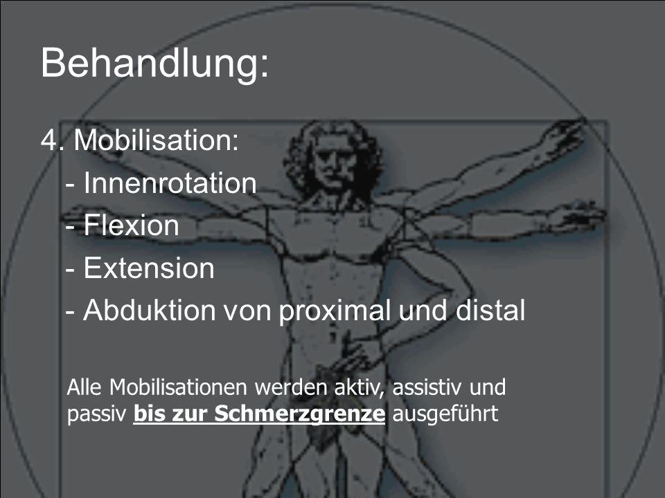 Behandlung: 5.Dehnung: - Adduktorengruppe - Pelvi-Trochantäre-Gruppe - evtl.