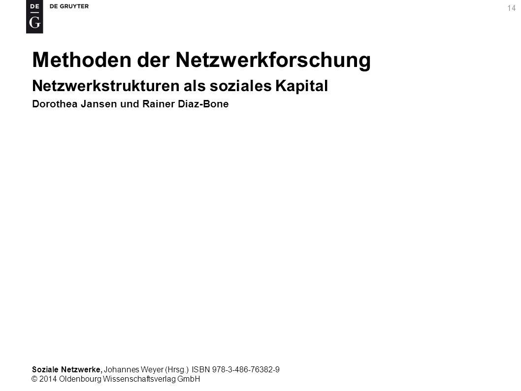 Soziale Netzwerke, Johannes Weyer (Hrsg.) ISBN 978-3-486-76382-9 © 2014 Oldenbourg Wissenschaftsverlag GmbH 14 Methoden der Netzwerkforschung Netzwerk