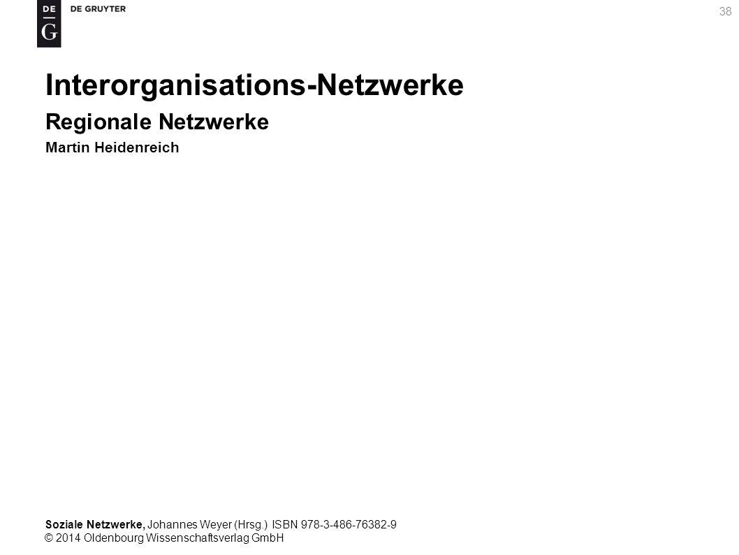 Soziale Netzwerke, Johannes Weyer (Hrsg.) ISBN 978-3-486-76382-9 © 2014 Oldenbourg Wissenschaftsverlag GmbH 38 Interorganisations-Netzwerke Regionale