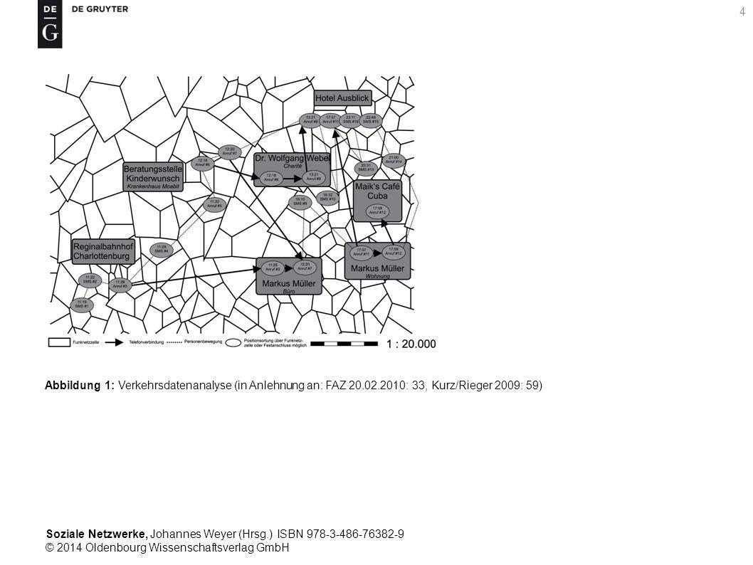Soziale Netzwerke, Johannes Weyer (Hrsg.) ISBN 978-3-486-76382-9 © 2014 Oldenbourg Wissenschaftsverlag GmbH 4 Abbildung 1: Verkehrsdatenanalyse (in An