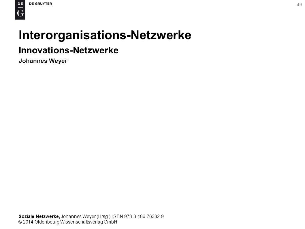 Soziale Netzwerke, Johannes Weyer (Hrsg.) ISBN 978-3-486-76382-9 © 2014 Oldenbourg Wissenschaftsverlag GmbH 46 Interorganisations-Netzwerke Innovation